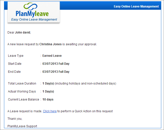 how to ask for leave email